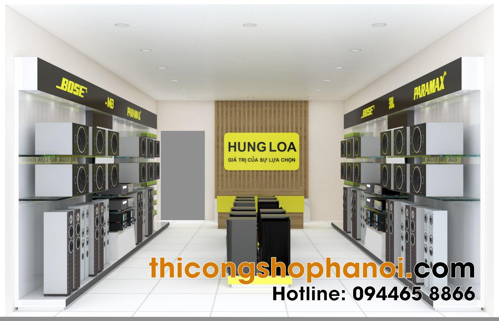 Thiết kế cửa hàng trưng bày loa, âm thanh tại HN