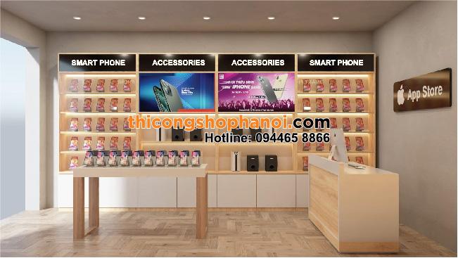 Thiết kế cửa hàng điện thoại nhỏ phong cách AppStore tại HN