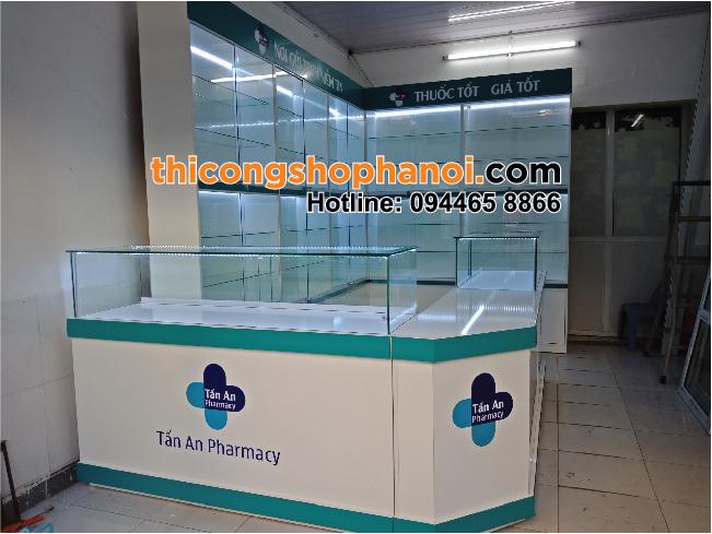Thiết kế và thi công cửa hàng thuốc Tấn An tại HN