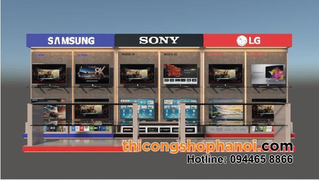 Thiết kế và thi công kệ trưng bày tivi Sony, SamSung, LG, Panasonic