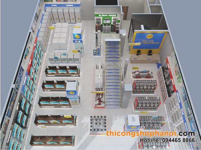 Thiết kế và thi công showroom điện máy xanh plaza 350 m2 tại Sơn La