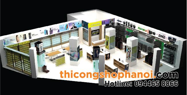 Thiết kế và thi công shop Điện máy Điện thoại Thắng Tuyết tại Phố Nối Hưng Yên