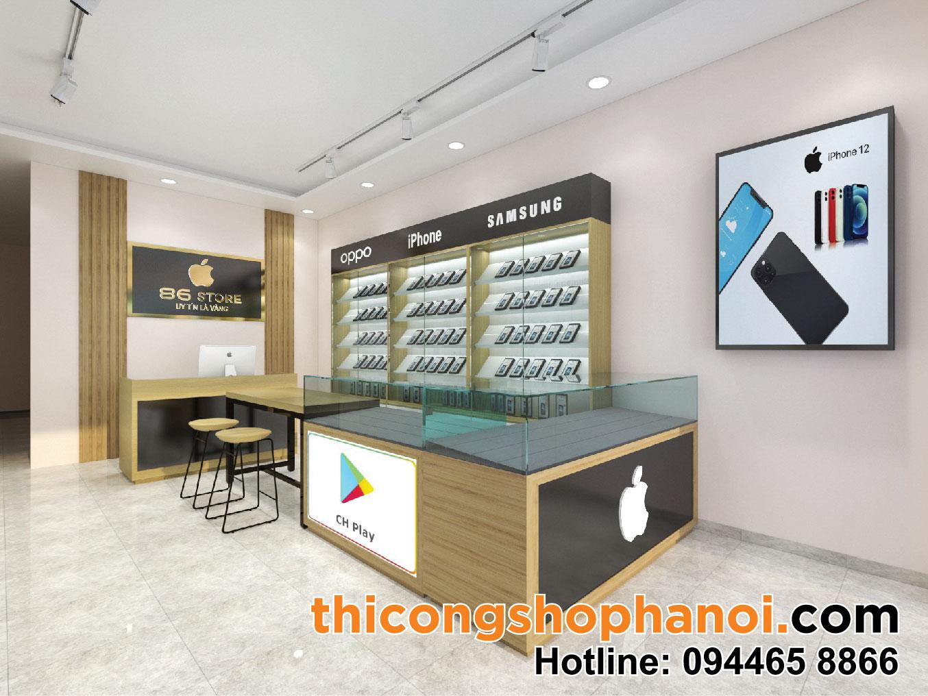 Thiết kế và thi công shop điện thoại 68 Store tại Sóc Sơn Hà Nội