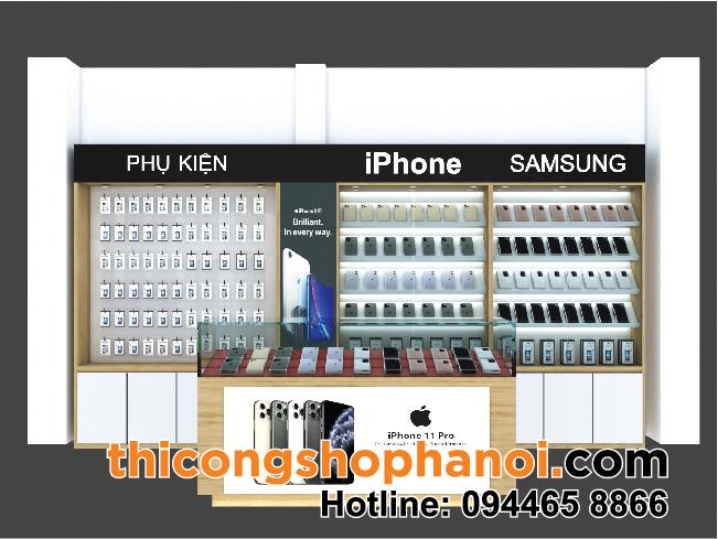 Thiết kế và thi công tủ kệ shop điện thoại tại Nội Bài HN