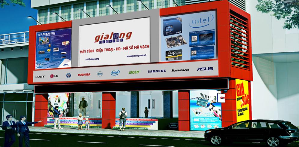 Thiết kế, thi công Siêu thị máy tính Gia long tại 168 Đường Láng