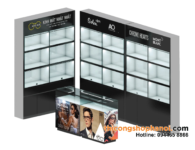 Thiết kế và thi công shop kính mắt nhỏ tại Hà Nội
