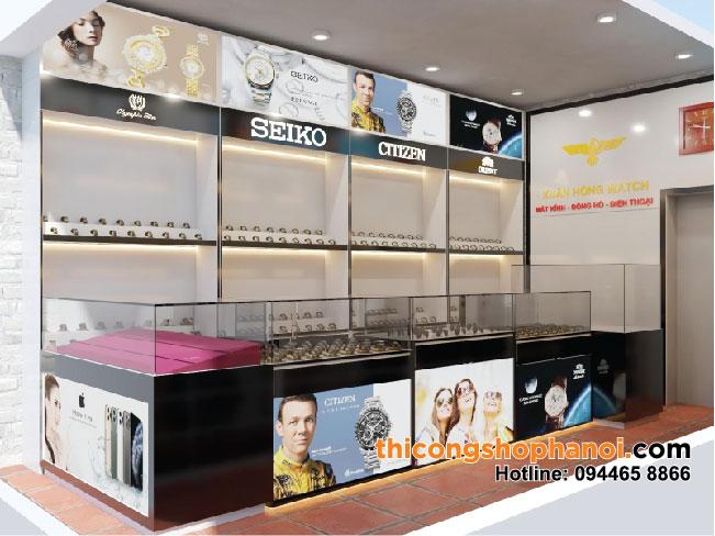 Thiết kế và thi công shop đồng hồ, kính mắt, điện thoại tại Tp.  Uông Bí Quảng Ninh
