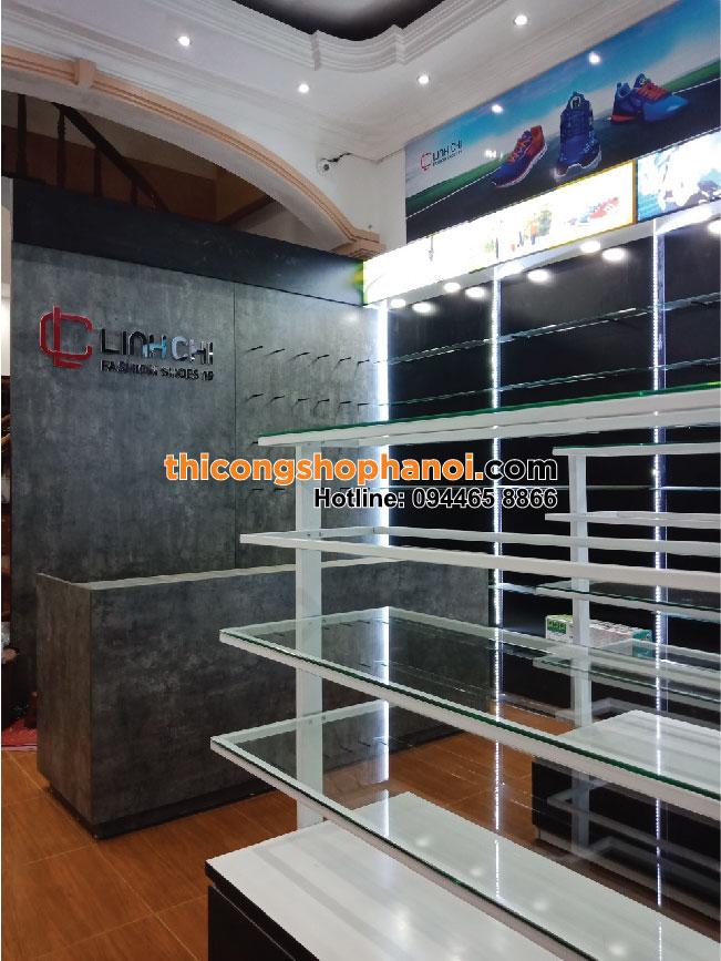 Thiết kế và thi công shop giầy dép thể thao Linh Chi tại Hà Nội