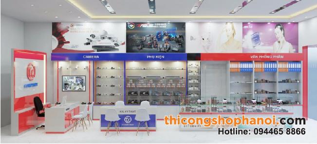 Thiết kế cửa hàng máy tính, mỹ phẩm, văn phòng phẩm tại Hà Nội