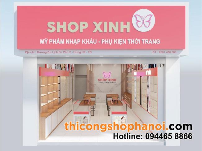 Thiết kế và thi công shop mỹ phẩm,  thời trang, túi xách và  phụ kiện tại  Thái Bình