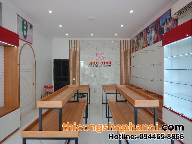 Thiết kế và thi công shop mỹ phẩm,  thời trang, túi xách,  phụ kiện tại TT Hưng Hà T.  Thái Bình