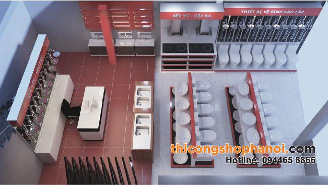 Thiết kế và thi công cửa hàng TBVS sen vòi ToTo,  Inax
