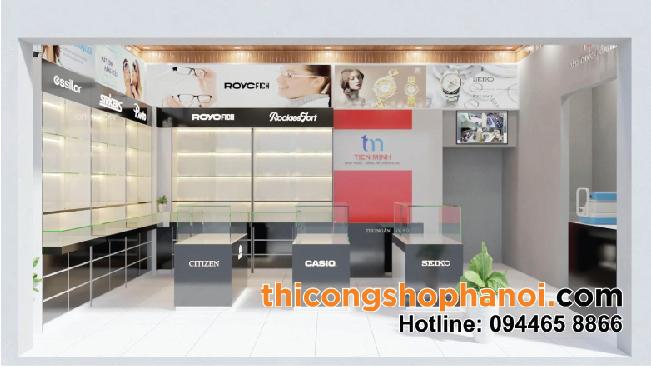 Thiết kế và thi công shop Kính mắt, Đồng hồ Tiến Minh tại Vụ Bản Nam Định