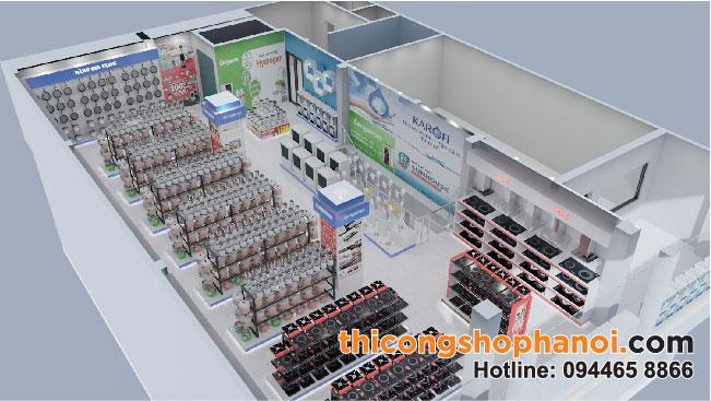 Thiết kế và Thi công Siêu thị điện máy xanh Plaza 250 m2 tại Sơn La