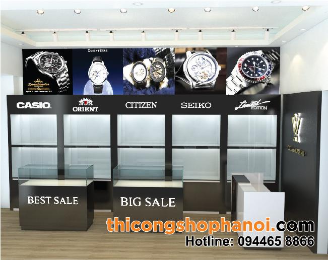 Thiết kế và thi công shop đồng hồ tại HN